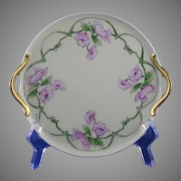 RS Germany Pink Floral Motif Handled Plate (Signed/c.1904-1938)