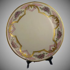 Hutschenreuther Selb Favorite Bavaria Pink Floral Motif Charger/Plate (Signed/Dated 1914)