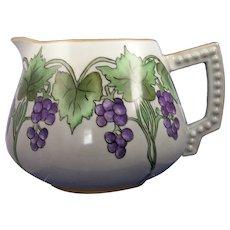 """Bavaria Porcelain Grape Motif Pitcher (Signed """"Ruth Stout""""/c.1910-1930)"""