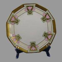 Coiffe Limoges Pink Floral Design Plate (c.1912-1920) - Keramic Studio Design