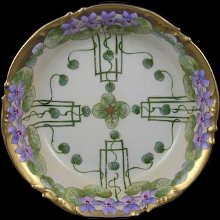"Pickard Studios ""Violets In Panel"" Design Bowl (c.1905-1910)"