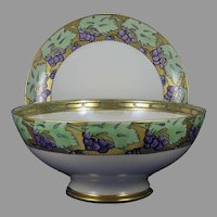 "Limoges Grape Motif Centerpiece/Punch Bowl & Plate Set (Signed ""H. Rowson""/Dated 1909-1910)"