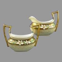 """Stouffer Studios Edelweiss Design Creamer & Sugar Set (Signed """"Bardos""""/c.1906-1914)"""