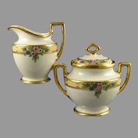 "MZ Austria Enameled Floral Design Creamer & Sugar Set (Signed ""G.H. Morgan""/c.1910-1930)"