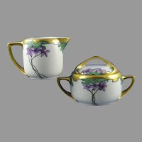 "Rosenthal Bavaria Violet Design Creamer & Sugar Set (Signed ""Burch""/c.1903-1930) - Keramic Studio Design"