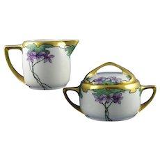 "Rosenthal Bavaria Violet Design Creamer & Sugar Set (Signed ""Burch""/c.1903-1930) - Keramic Studio Design"