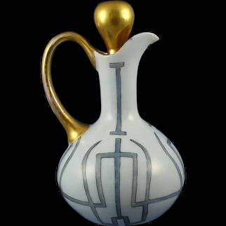 Hutschenreuther Favorite Bavaria Geometric Design Cruet/Pitcher (c. 1909-1930's) - Keramic Studio Design