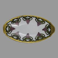 "UC Limoges Grape Design Serving Dish/Tray (Signed ""M.M.""/c.1910-1919)"