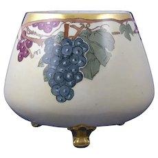 "PH Leonard Austria Grape Motif Footed Planter/Vase/Centerpiece Bowl (Signed ""M.P.""/c.1890-1930)"