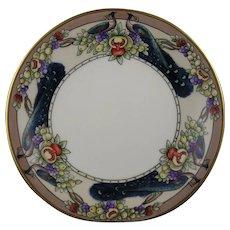 "T&V Limoges Peacocks & Fruit Design Plate (Signed ""A. Goltz Bryant""/c.1909-1930) - Keramic Studio Design"