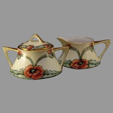 ZS&Co. Bavaria Poppy Design Creamer & Sugar Set (c.1910-1930's)