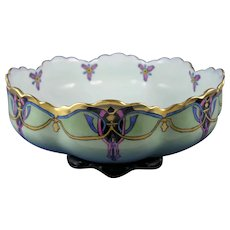 "Haviland Limoges Arts & Crafts Centerpiece Bowl (Signed ""A.W.""/c.1910-1930)"