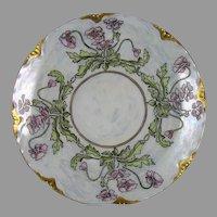 "O&EG Austria Floral Design Plate (Signed ""L. Plue""/c.1905-1930)"