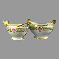 P&L Imperial Austria Floral Design Creamer & Sugar Set (Signed/Dated 1914)