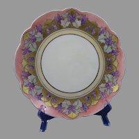 """Limoges 'Mark 6' Violet Design Plate (Signed """"M.F. Clemens""""/c.1910-1930)"""