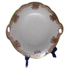 "Hutschenreuther Bavaria Pinecone Design Handled Plate (Signed ""J. Dorris""/c.1900-1920)"