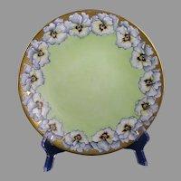 "Bawo & Dotter Elite Works Limoges Pansy Design Plate (Signed ""E.T.K.""/c.1910-1930)"