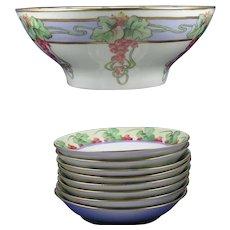 """Limoges Currant Design Centerpiece Bowl & Berry Bowl Set (Signed """"F. Harris""""/c.1900-1931)"""