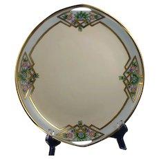 "Rosenthal Donatello Bavaria Floral Design Handled Serving Plate (Signed ""I. Krause""/c.1919-1930) - Keramic Studio Design"