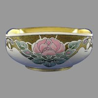 "American Satsuma Enameled Rose Design Bowl (Signed ""M. Held""/Dated 1918)"