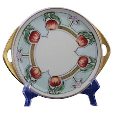 "Pirkenhammer Austria Apple Design Handled Serving Plate/Dish (Marked ""Sandwich – Corsicana, Texas""/c.1910-1930)"