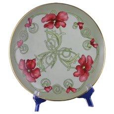 George Bassett Limoges Poppy Motif Plate (Signed/c.1900-1914)