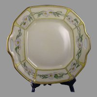 B&Co. Limoges Daisy Motif Handled Serving Plate (Signed/c.1910-1930)
