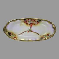 "Pickard Studios Currant Design Serving Dish/Tray (Signed ""M. Rost LeRoy""/c.1903-1905)"