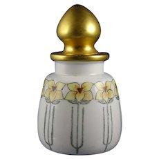 """PH Leonard Austria Floral Design Dresser Jar/Bottle (Signed """"MLS""""/c.1910-1930)"""
