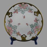 """B&Co. Limoges Floral/Nasturtium Design Plate (Signed """"M. Gray""""/c.1910-1930)"""