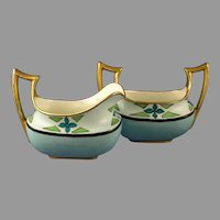 "Classio Bavaria Art Deco Creamer & Sugar Set (Signed ""Grace Knox""/Dated 1910)"