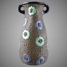 Amphora Austria Enameled Floral Vase (c.1905-1910)