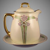 "Jaeger & Co. Bavaria ""Double Chinese Lily"" Design Syrup Pitcher & Plate Set (Signed ""Elsie""/Dated 1915) - Keramic Studio Design"