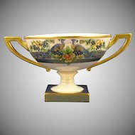 Lenox Belleek Peacock & Fruit Design Pedestal Bowl (c.1909-1924) - Keramic Studio Design