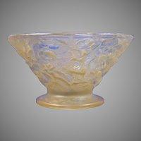 Consolidated Glass Yellow Wash Martele Floral Bowl (c.1920's)