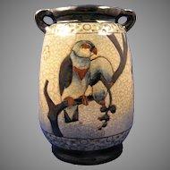 """Amphora Austria Arts & Crafts """"Campina"""" Parrots Motif Vase (c.1905-1910)"""