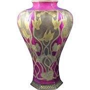 "Ceramic Art Company (CAC) Belleek Gold & Maroon Cyclamen Motif Vase (Signed ""M.A. Oakes""/c.1906-1924)"