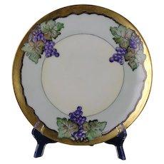 "Thomas Bavaria Arts & Crafts Grape Motif Plate (Signed ""E. Meams""/c.1908-1930)"