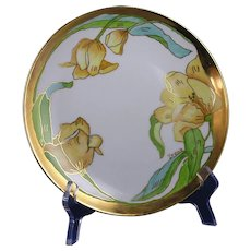"""Hutschenreuther Arts & Crafts Yellow Tulips Plate (Signed """"Irene""""/c.1887-1920)"""