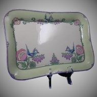 Lenox Belleek (American) Whimsical Enameled Bird & Floral Motif Tray (c.1906-1924)