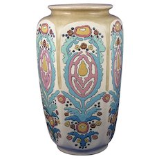 "American Satsuma Enameled Arts & Crafts Floral Motif Vase (Signed ""L. Philips""/c.1910-1920)"