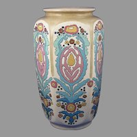 "Large American Satsuma Enameled Arts & Crafts Floral Motif Vase (Signed ""L. Philips""/c.1910-1920)"