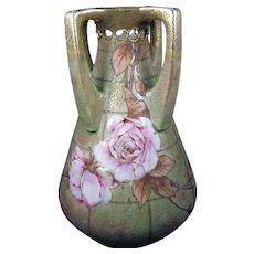 RStK Amphora Austria Enameled Rose Motif Vase (c.1899-1915)