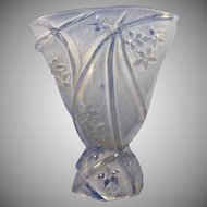 Consolidated Glass Co. Blue Wash Martele Line 700 Design Fan Vase (c. 1920's)