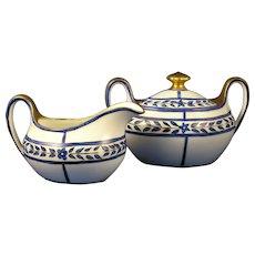"""Zeh Scherzer & Co. (ZS&Co.) Bavaria Arts & Crafts Blue Floral Design Creamer & Sugar Set (Signed """"LED""""/c.1880-1930)"""