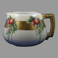 "Vignaud Limoges Arts & Crafts Apple Design Pitcher (Signed ""Etta Chamberline""/c.1911-1938)"