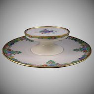 "Lenox Belleek (American) Enameled Floral Design Tiered Caviar Serving Plate/Dish (Signed ""Hazel N. Green""/Dated 1926)"