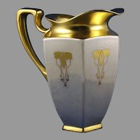 "B&Co. Limoges Gold & Lustre Floral Design Pitcher (Signed ""Foley""/c.1914-1930)"