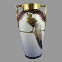 Heinrich & Co. (H&Co.) Bavaria Peacock Design Vase (c.1910-1930)