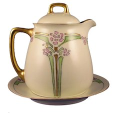 """Jaeger & Co. Bavaria """"Double Chinese Lily"""" Design Syrup Pitcher & Plate Set (Signed """"Elsie""""/Dated 1915) - Keramic Studio Design"""